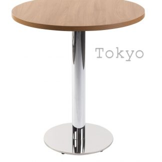 TOKYO Chrome Round Base Cafe Table with Square or Round MFC Top | Cafe | CT2S