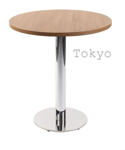 TOKYO Chrome Round Base Cafe Table with Square or Round MFC Top   Cafe   CT2R