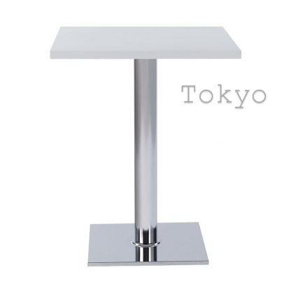 TOKYO Chrome Square Base Cafe Table with Square or Round MFC Top | Cafe | CT2S